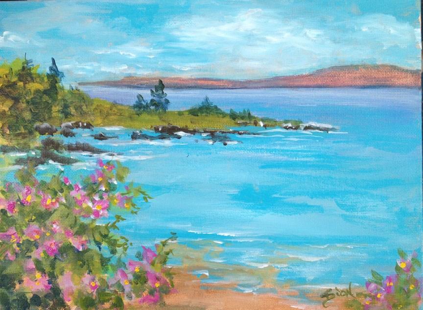 """""""Beach Rose Seascape"""" original fine art by Sue Dion"""