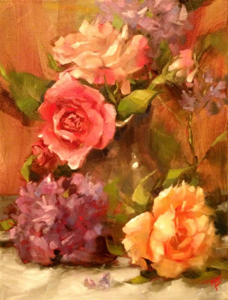 """Roses & Hydrangeas"" original fine art by Krista Eaton"