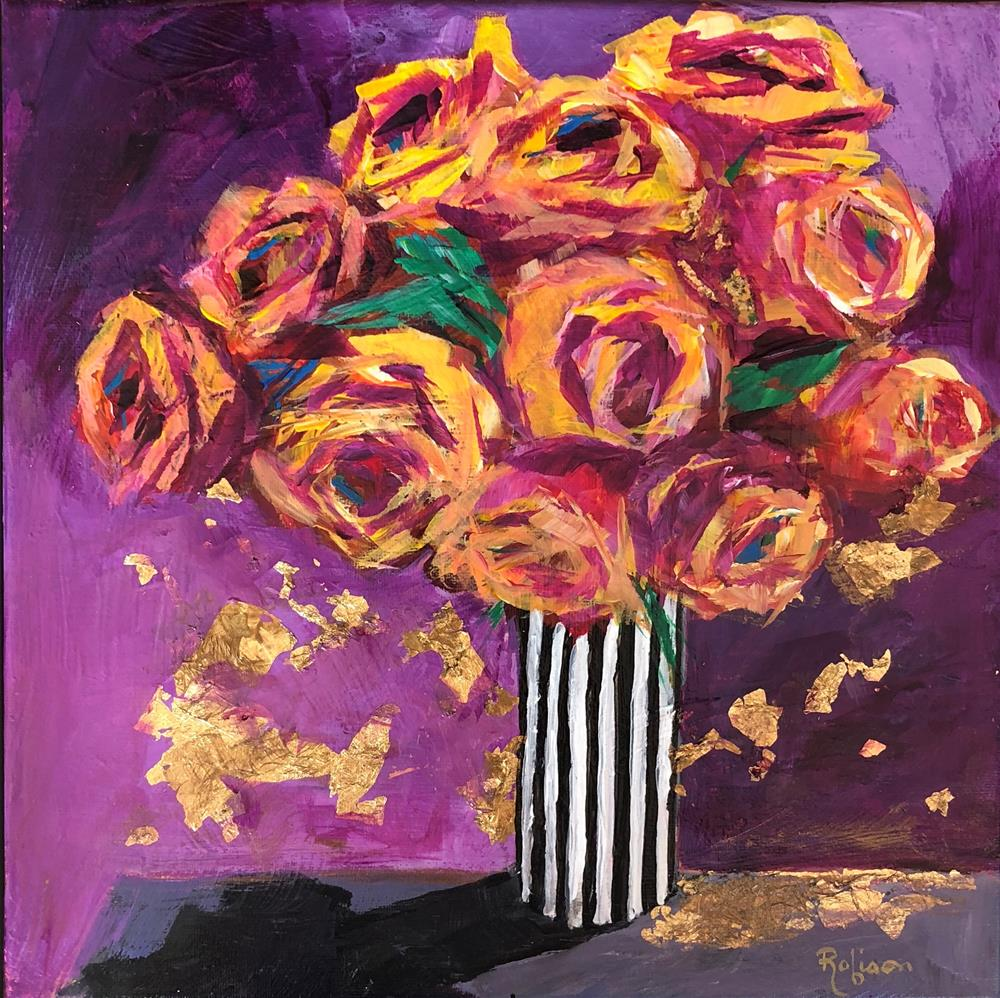 """""""Yellow Roses in a Stripe Vase"""" original fine art by Renee Robison"""