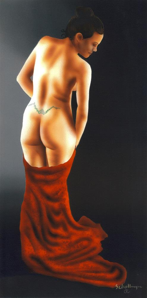 """""""Nude Study with Robe"""" original fine art by Fred Schollmeyer"""