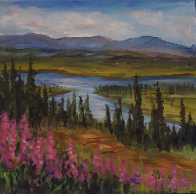 """Fireweed along the Alaska Highway"" original fine art by Jackie Irvine"