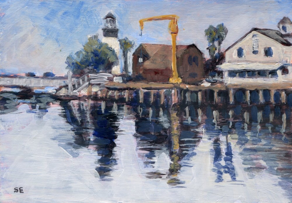 """""""Harbor Village"""" original fine art by Stanley Epperson"""