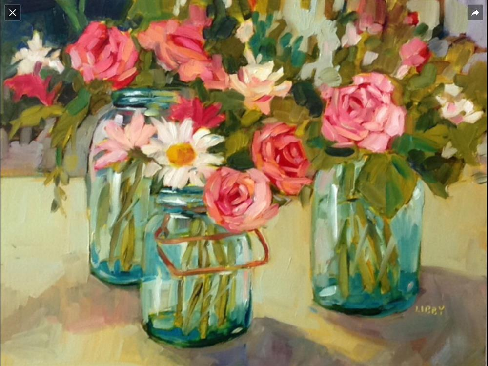 """""""Roses and Daisies"""" original fine art by Libby Anderson"""
