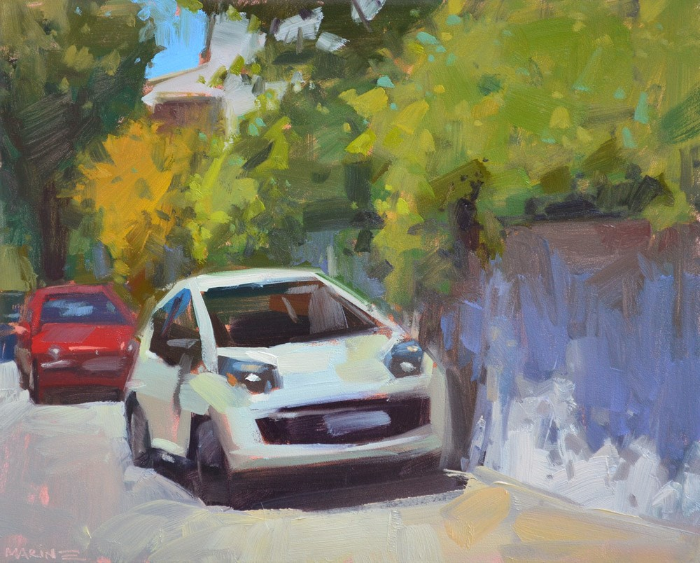 """Happy French Car"" original fine art by Carol Marine"