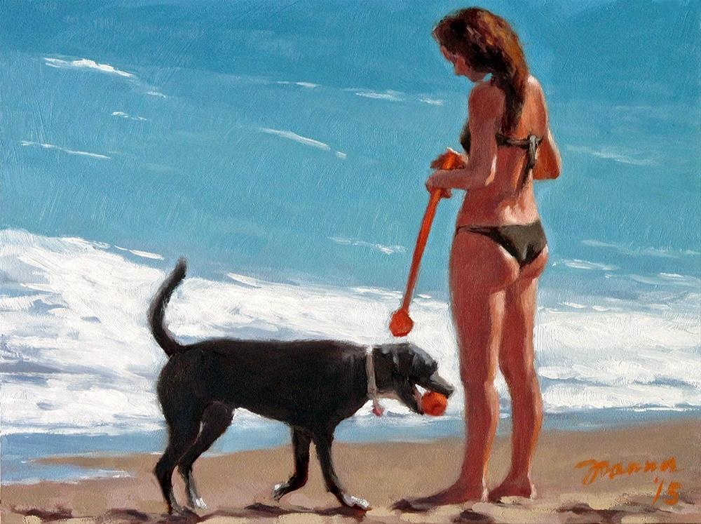 """Mission Accomplished -- Series Painting of Dogs & Owners on the Beach"" original fine art by Joanna Bingham"