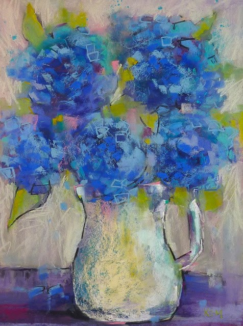 """Permission to Be Messy....Painting Hydrangeas"" original fine art by Karen Margulis"