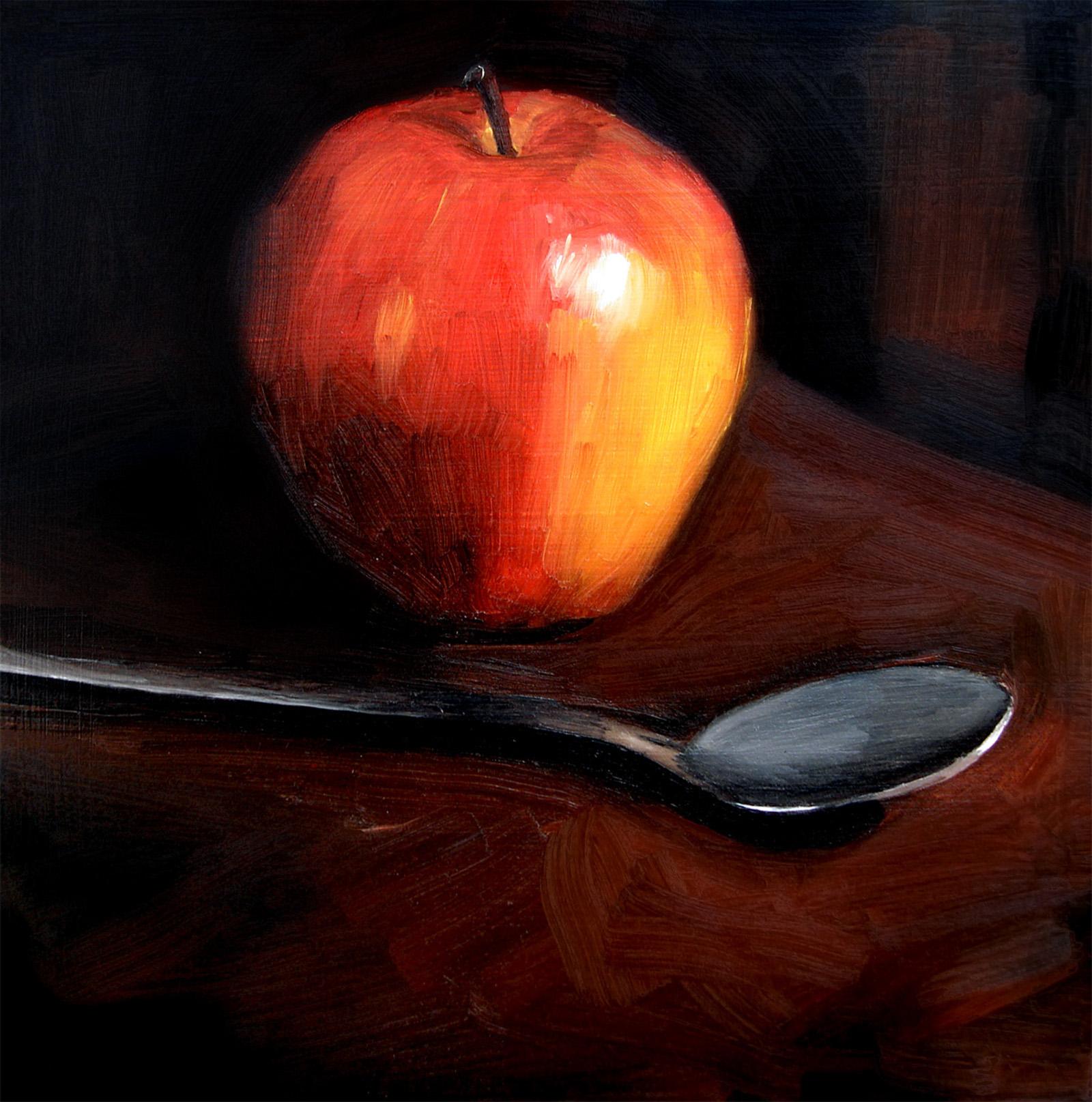 """Gala Apple and Teaspoon (no.29)"" original fine art by Michael William"