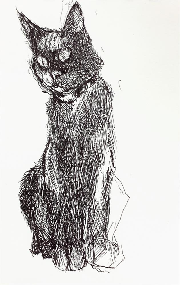 """Daily Cat 59"" original fine art by Jean Krueger"