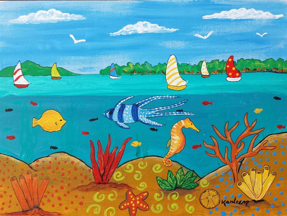 """Sailboats and Fish"" original fine art by Karleen Kareem"