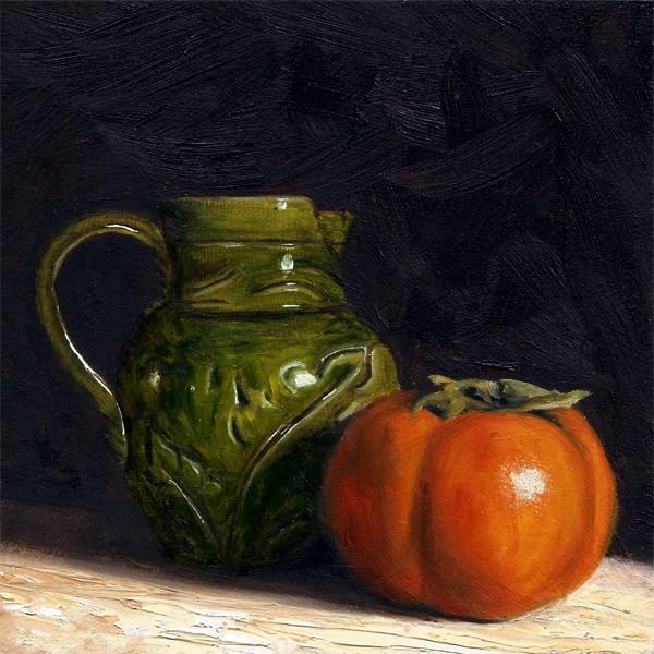 """Antique cream jug with persimmon"" original fine art by Peter J Sandford"