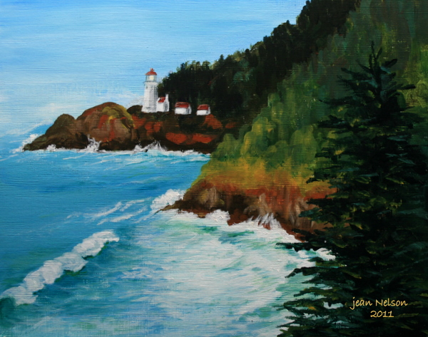 """Haceta Head Lighthouse"" original fine art by Jean Nelson"