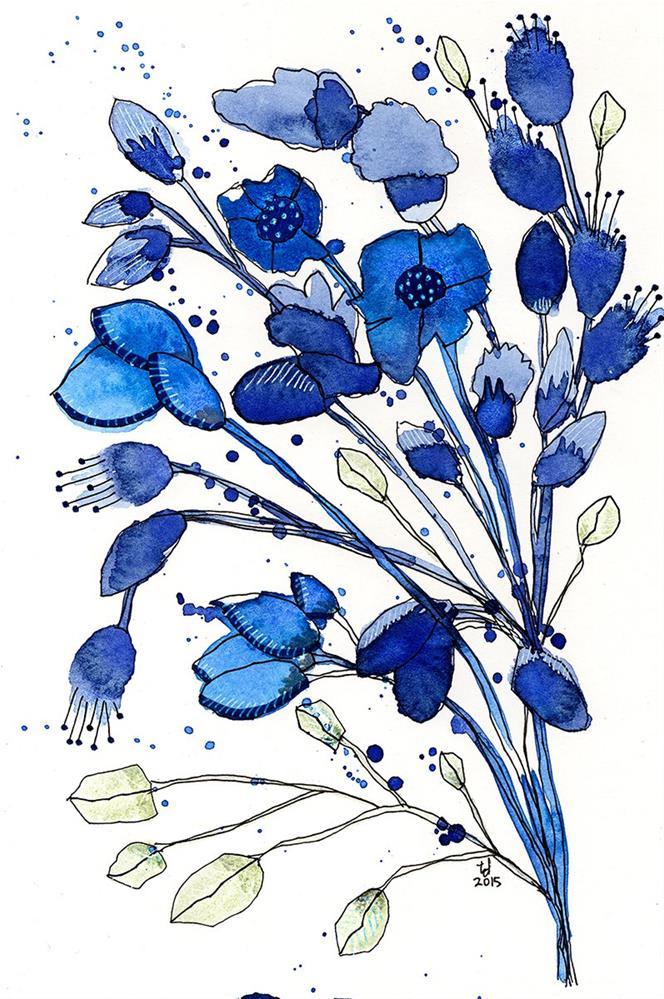 """Blue Spray"" original fine art by Tonya Doughty"