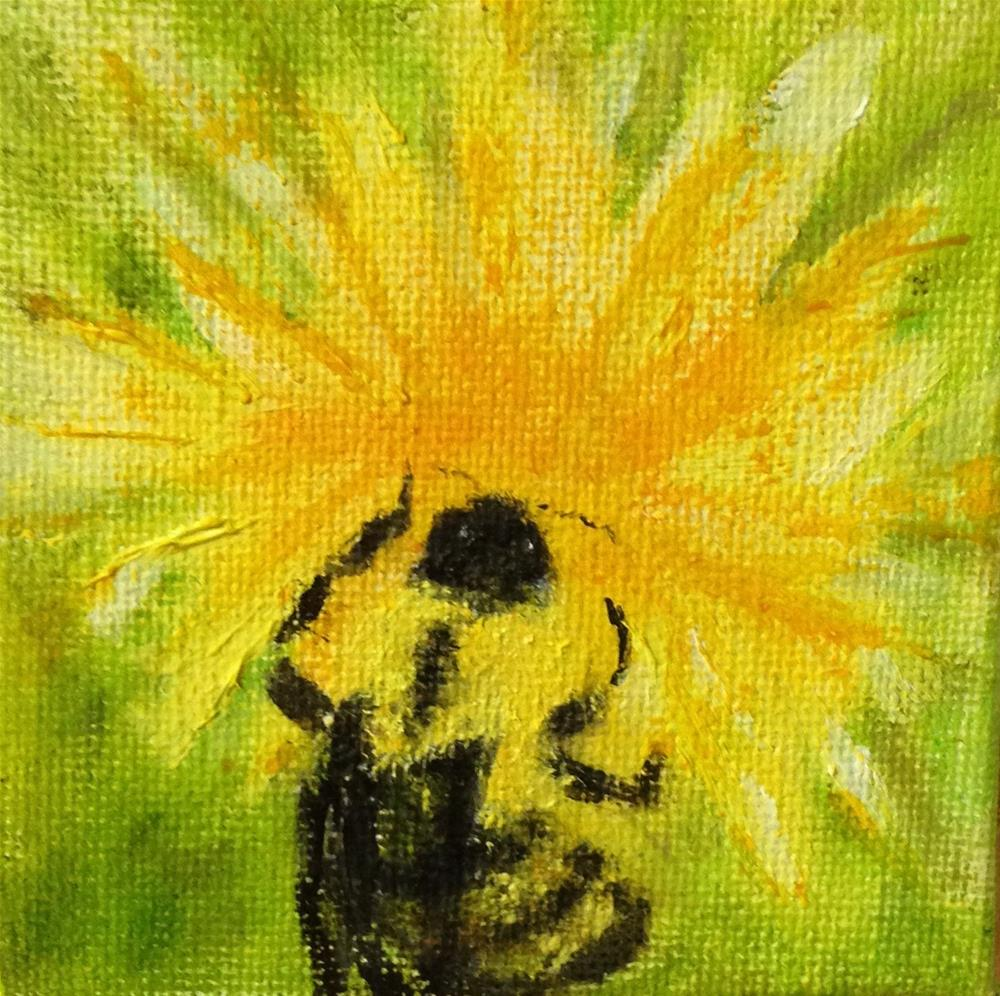 """""""Beezzz: Right in the Middle"""" original fine art by Joy McMicken"""