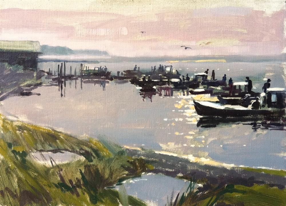 """""""Oyster boats at sunrise"""" original fine art by Haidee-Jo Summers ROI"""