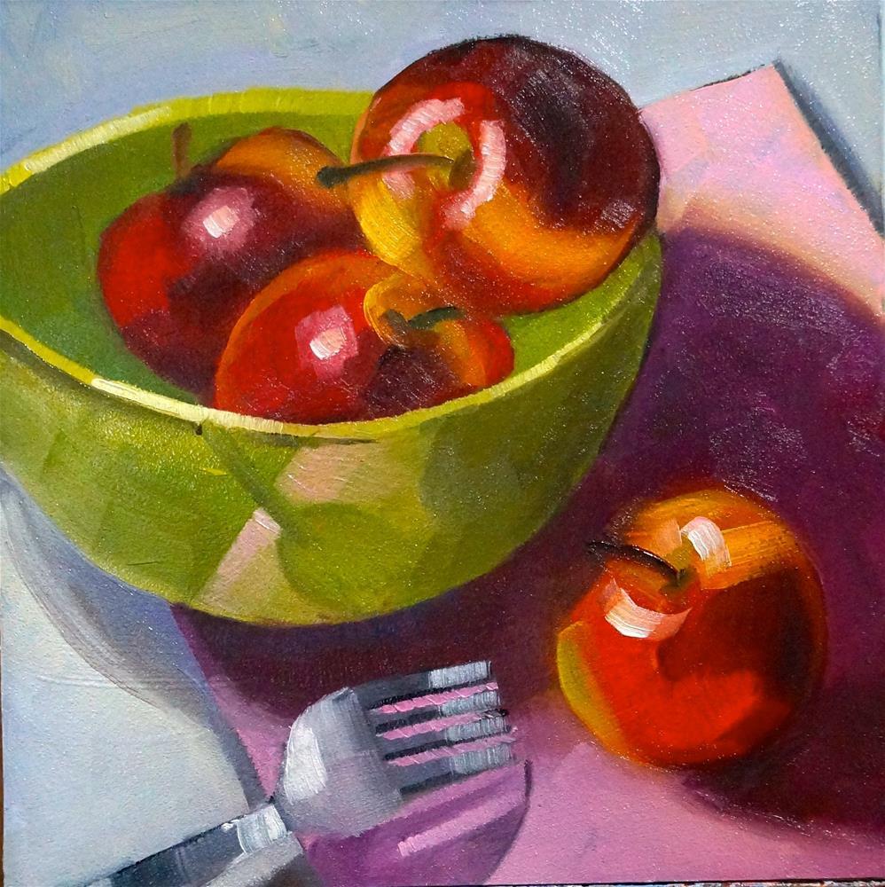 """Apples with fork"" original fine art by Dipali Rabadiya"