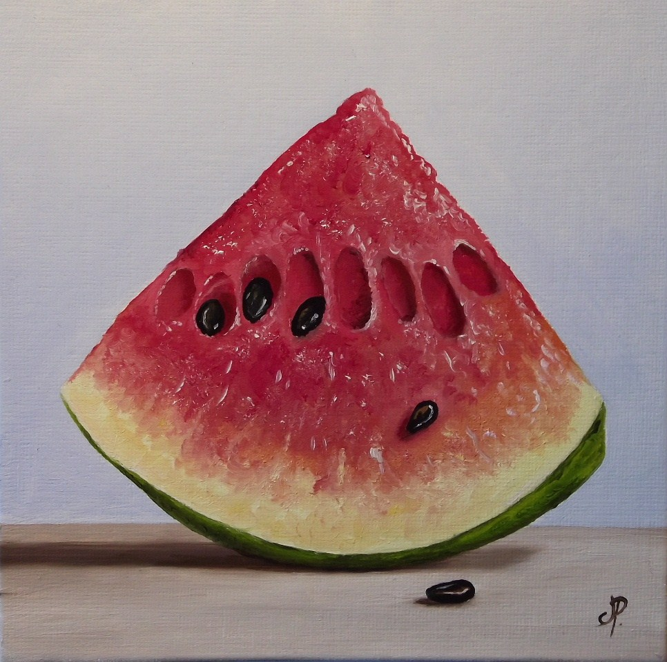 """Watermelon wedge"" original fine art by Jane Palmer"