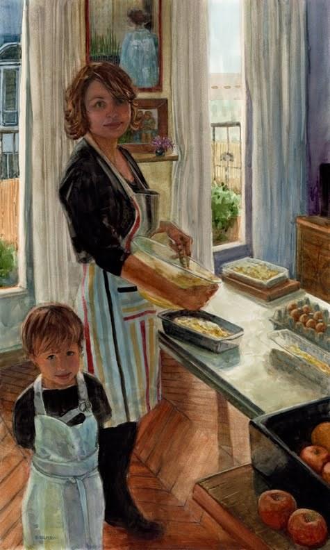 """Watercolor: Love Kitchen (& Social Media as your Front Porch)"" original fine art by Belinda Del Pesco"