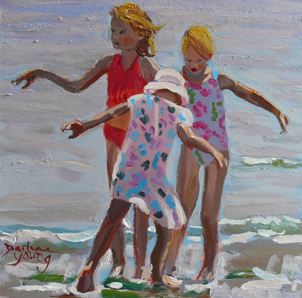 """857 Water Fairies 2, oil on board, 6x6"" original fine art by Darlene Young"