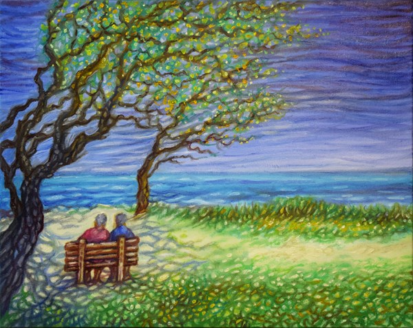 """Ocean Gazers"" original fine art by Lori Fredricks"