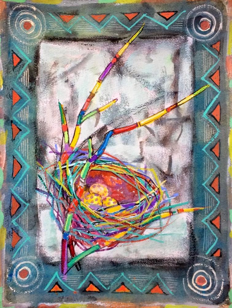 """""""Decorative Nest - workshop.  Day 18"""" original fine art by Julie Ford Oliver"""