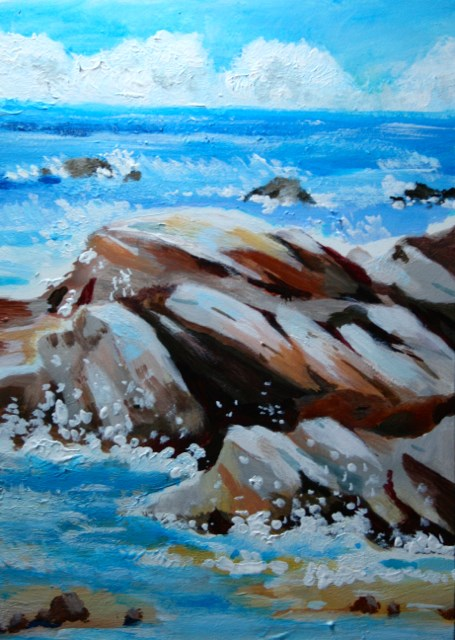 """Rocks, Clouds, Sea"" original fine art by JoAnne Perez Robinson"