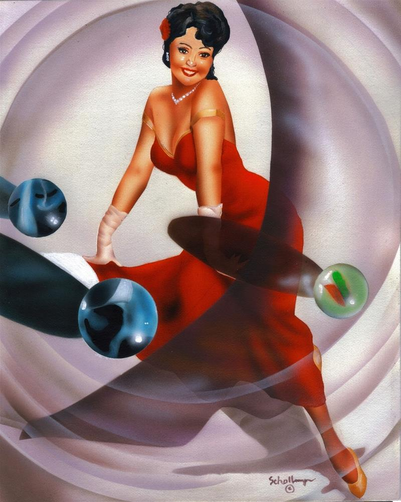 """""""Pin Up in Red with Marbles"""" original fine art by Fred Schollmeyer"""