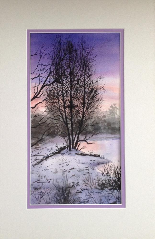 """Winter Twilight Watercolor"" original fine art by Mark Tompkins"