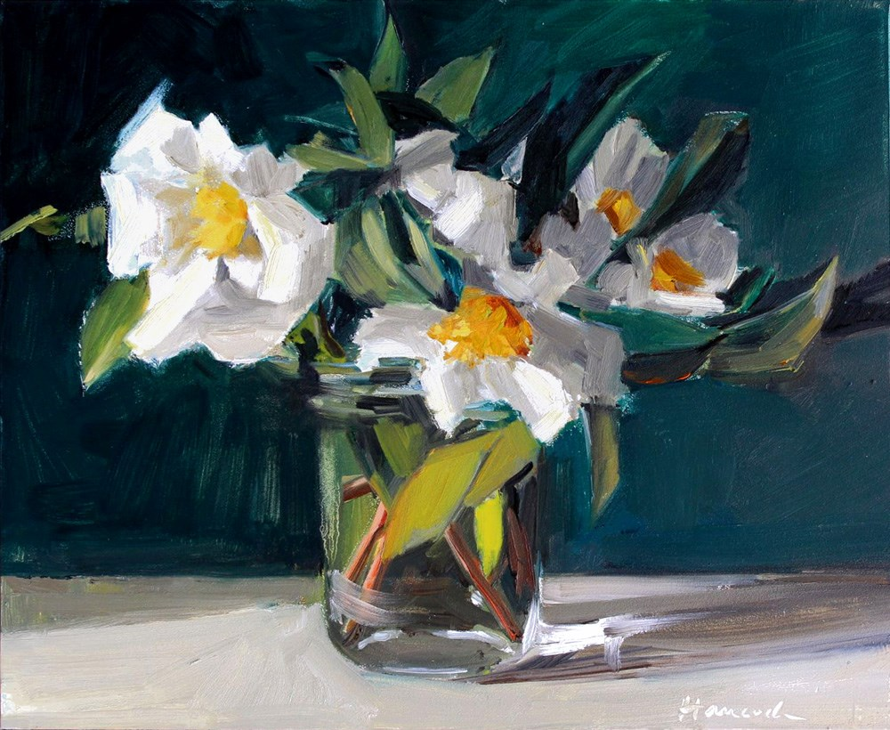 """White Camellia Bouquet"" original fine art by Gretchen Hancock"