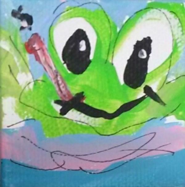 """""""Itty Bitty Frog"""" original fine art by Terri Einer"""