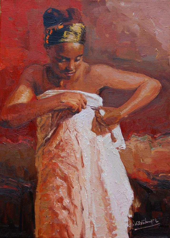 """The African Wrapper"" original fine art by Adebanji Alade"