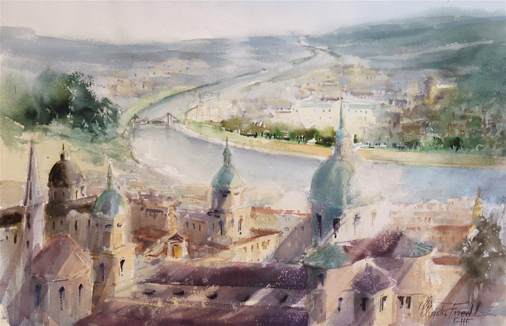 """Rooftops Salzburg, Austria"" original fine art by Christa Friedl"