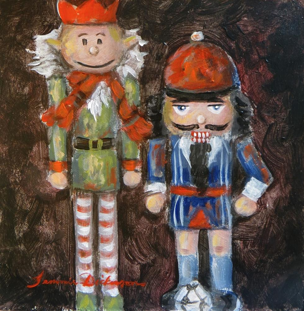 """Soccer and Elf Nutcrackers"" original fine art by Tammie Dickerson"