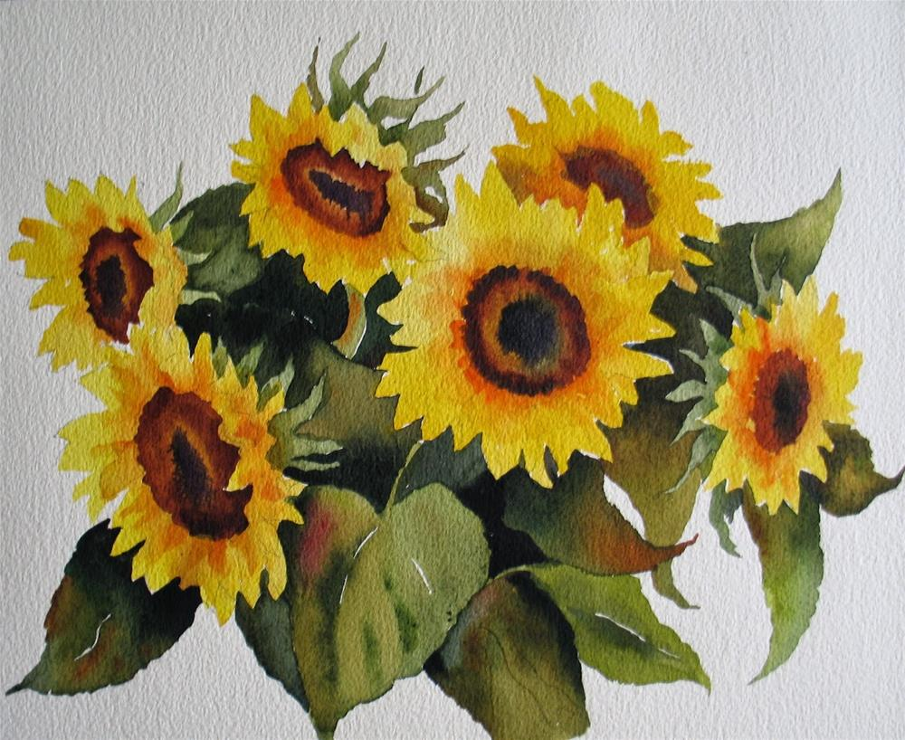 """Happy Sunflowers"" original fine art by Nel Jansen"
