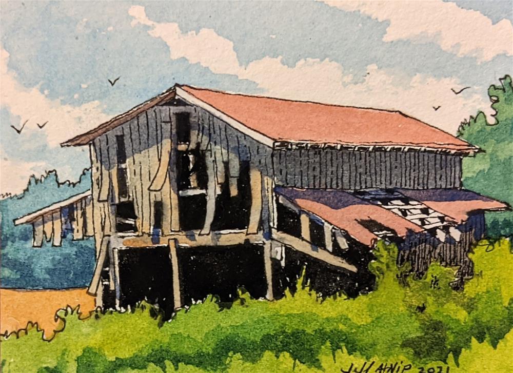"""Sand Mountain Barn"" original fine art by Jeff Atnip"
