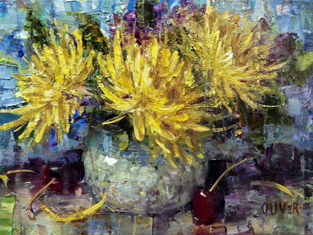 """""""Mums, Cherries and great App."""" original fine art by Julie Ford Oliver"""