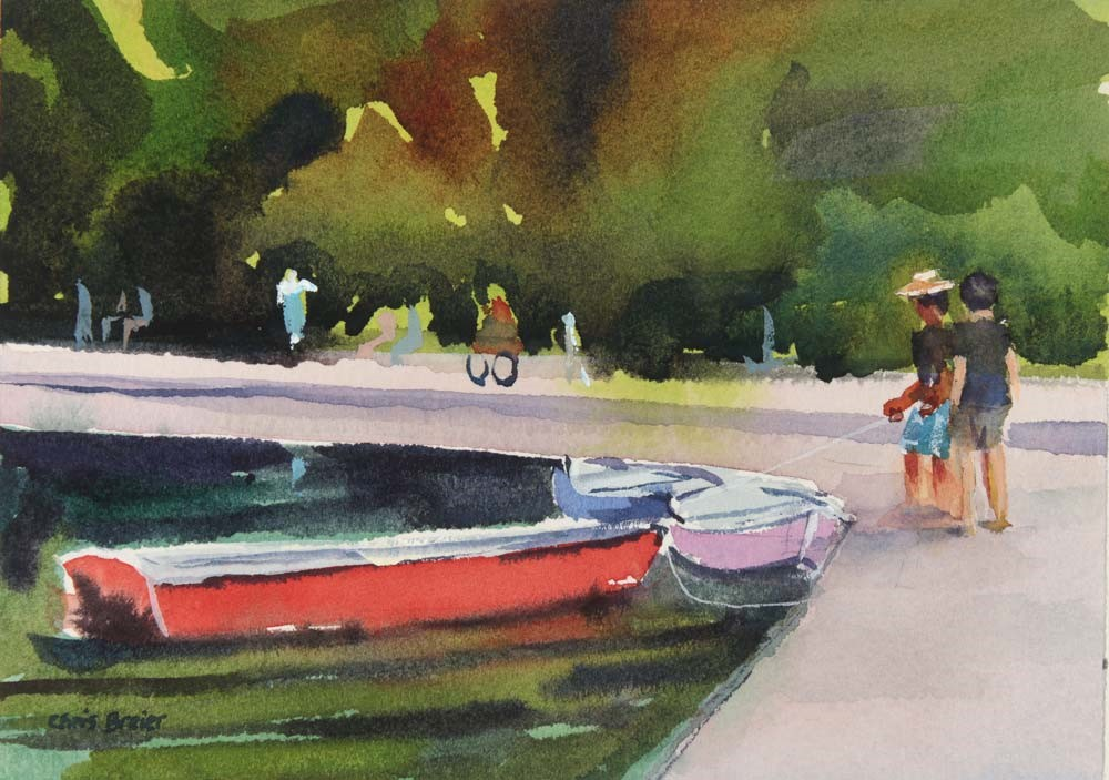 """Row Boats at Hoyt Lake"" original fine art by Chris Breier"