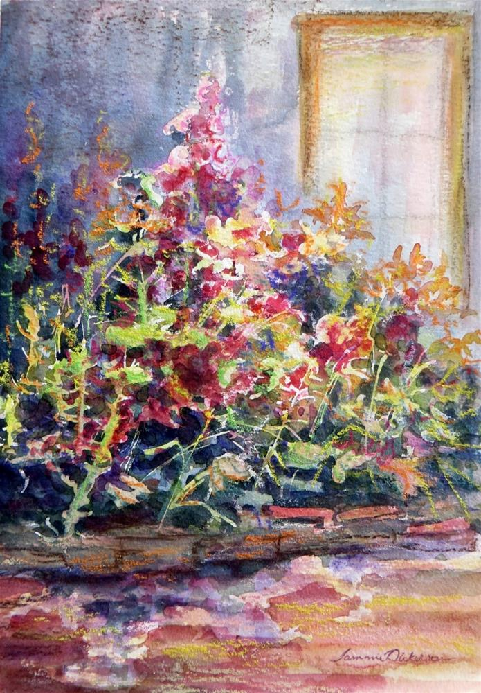 """""""Hollyhock Garden"""" original fine art by Tammie Dickerson"""