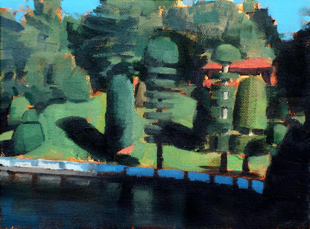 """Topiary Gardens, Lake Waban, Wellesley MA (no.126)"" original fine art by Michael William"