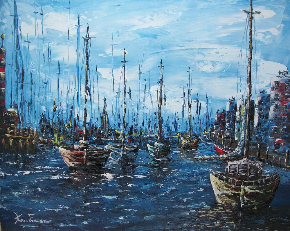 """Morning Harbor"" original fine art by Ken Fraser"