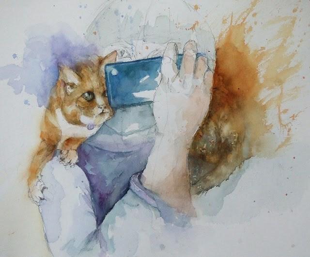"""""""getting there"""" original fine art by Mitsuru Cope"""