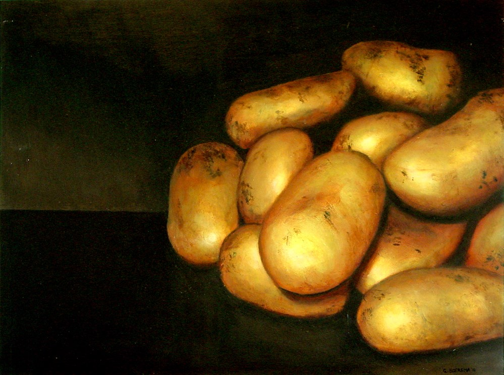 """Potatoes- still life painting of potatoes"" original fine art by Gerard Boersma"