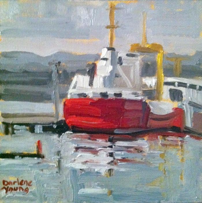 """Coast Guard Boat, oil on canvas board, 6x6"" original fine art by Darlene Young"