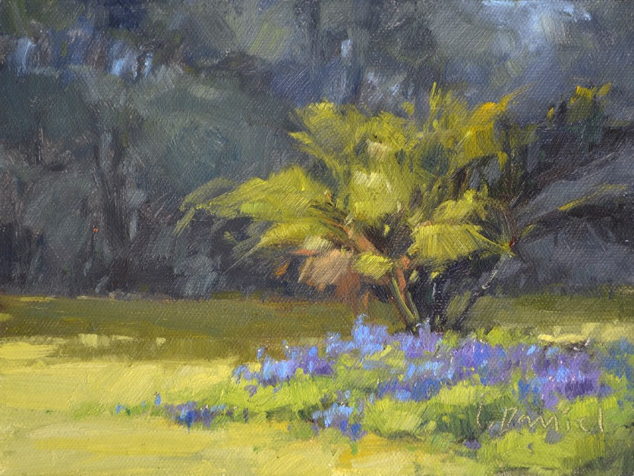"""""""Sunny Bluebonnet Patch - Plein Air Demo"""" original fine art by Laurel Daniel"""