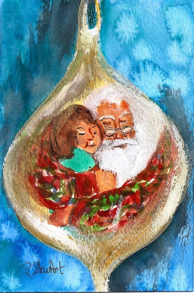 """4x6 Santa Loves Me Ornament Painting Little Girl Original Penny Lee StewArt"" original fine art by Penny Lee StewArt"