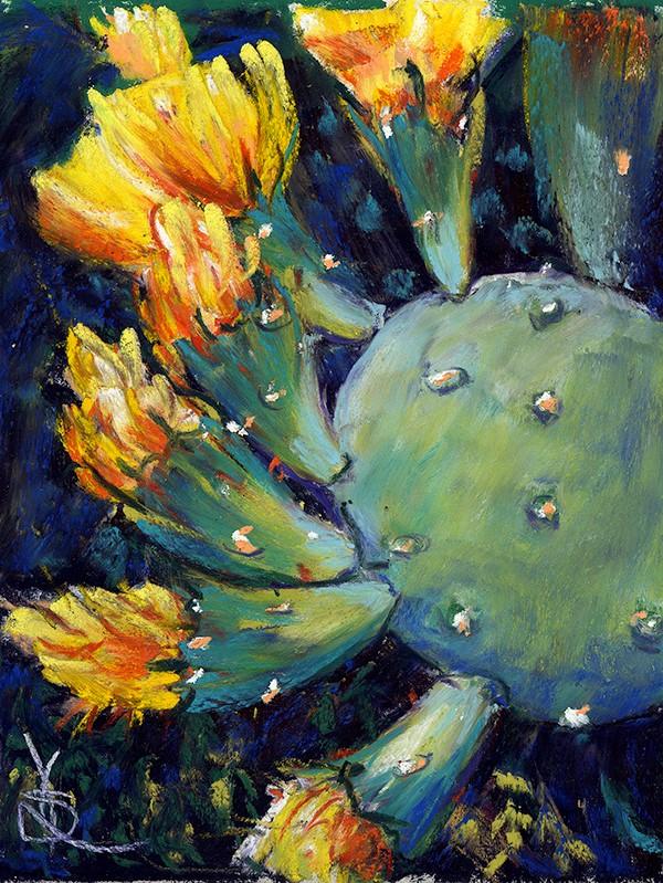 """Cactus Blooms"" original fine art by Valorie Sams"
