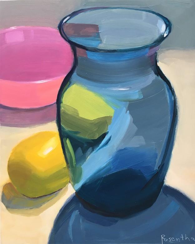 """""""Blue Vase, Lemons and Pink Bowl"""" original fine art by Robin Rosenthal"""