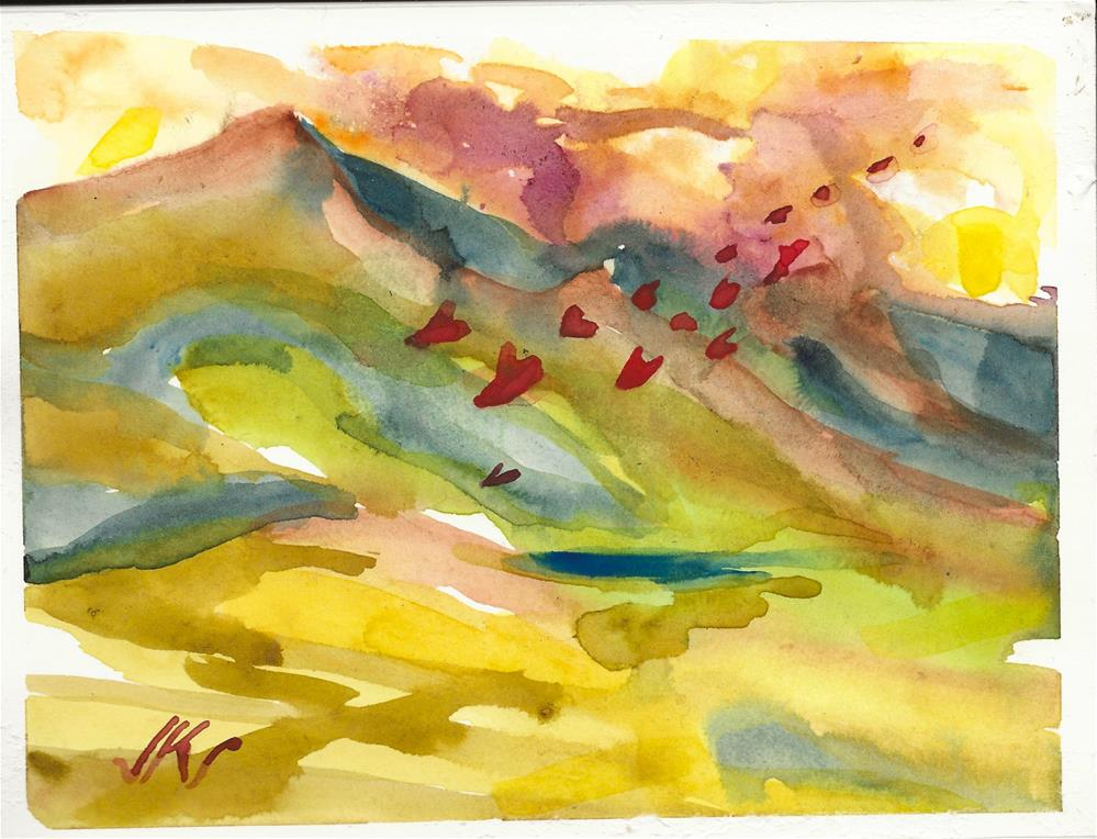 """Hearts Fly Over the Mountain"" original fine art by Jean Krueger"