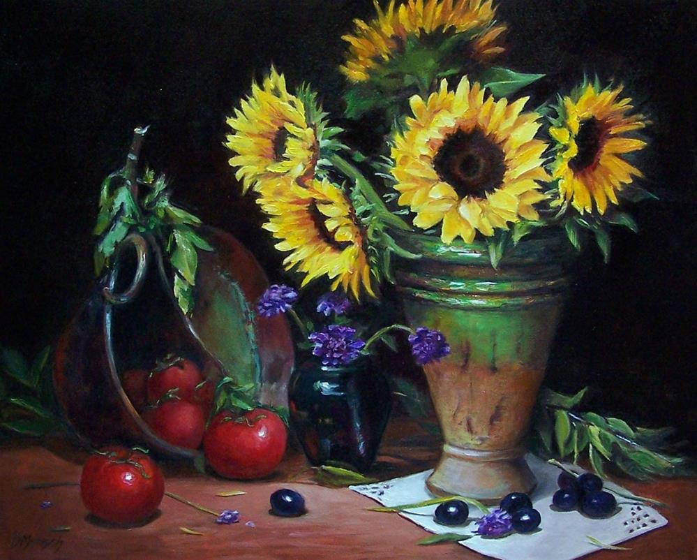 """""""Sunflowers and Tomatoes"""" original fine art by Donna Munsch"""