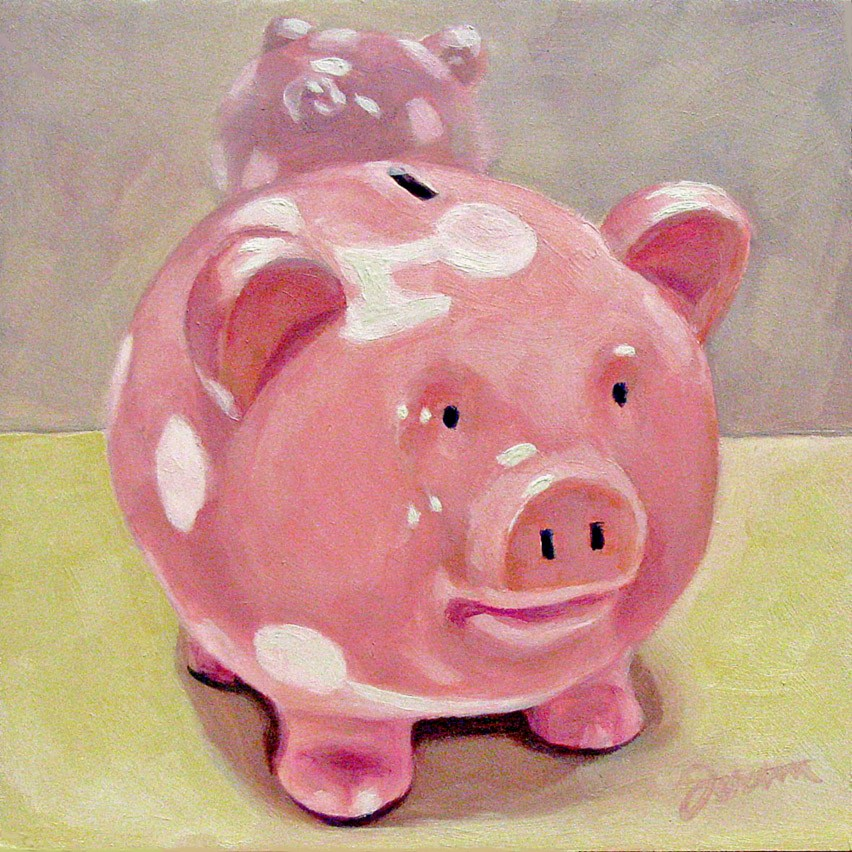 """Pinky Piggy"" original fine art by Joanna Bingham"