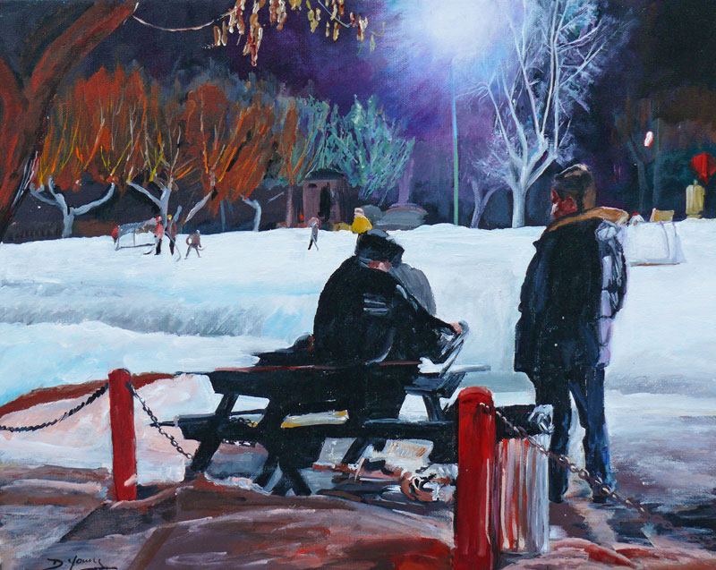 """After School Skate"" original fine art by Darlene Young"